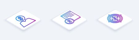 Set Isometric line Business man planning mind, Paper check and financial check and Target with dollar. White square button. Vector