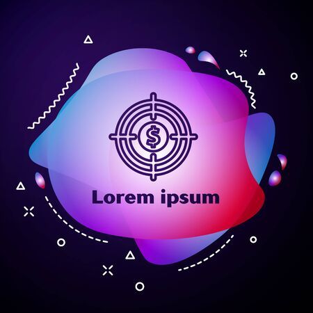Purple line Target with dollar symbol icon isolated on blue background. Investment target icon. Successful business concept. Cash or Money. Abstract banner with liquid shapes. Vector Illustration Illusztráció