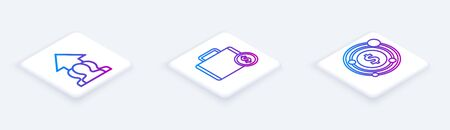 Set Isometric line Growth chart and progress in people crowd, Briefcase and money and Target with dollar symbol. White square button. Vector