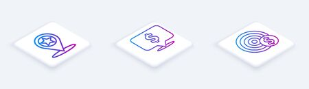 Set Isometric line Map pointer with star, Speech bubble with dollar and Target with dollar symbol. White square button. Vector Illusztráció