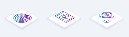 Set Isometric line Target with dollar symbol, Mobile phone and like with heart and Magnet with money. White square button. Vector