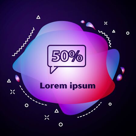 Purple line Fifty discount percent tag icon isolated on blue background. Shopping tag sign. Special offer sign. Discount coupons symbol. Abstract banner with liquid shapes. Vector Illustration