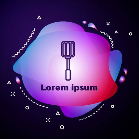 Purple line Spatula icon isolated on blue background. Kitchen spatula icon. BBQ spatula sign. Barbecue and grill tool. Abstract banner with liquid shapes. Vector Illustration