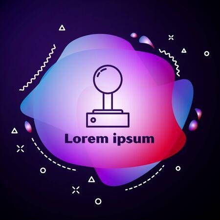 Purple line Joystick for arcade machine icon isolated on blue background. Joystick gamepad. Abstract banner with liquid shapes. Vector Illustration Ilustração