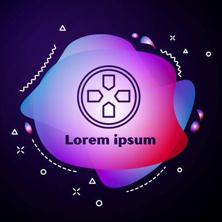 Purple line Gamepad icon isolated on blue background. Game controller. Abstract banner with liquid shapes. Vector Illustration Ilustração