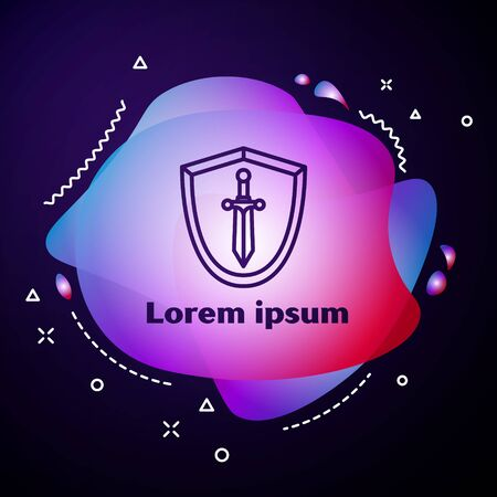 Purple line Medieval shield with sword icon isolated on blue background. Abstract banner with liquid shapes. Vector Illustration