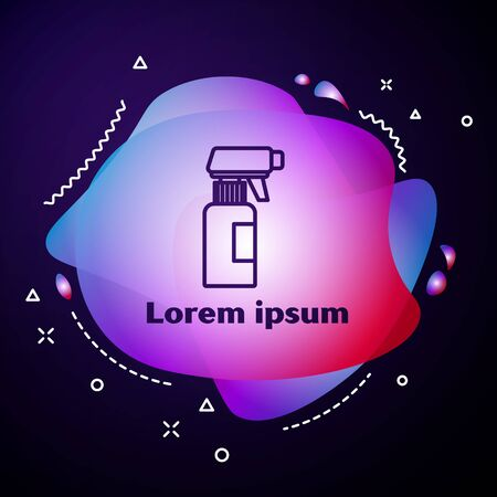 Purple line Hairdresser pistol spray bottle with water icon isolated on blue background. Abstract banner with liquid shapes. Vector Illustration