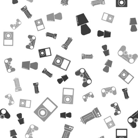Set Table lamp , Blender , Gamepad  and Music player  on seamless pattern. Vector