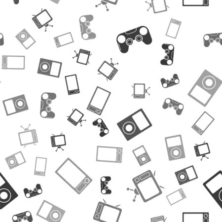 Set Gamepad , Television, Music player  and Microwave oven  on seamless pattern. Vector