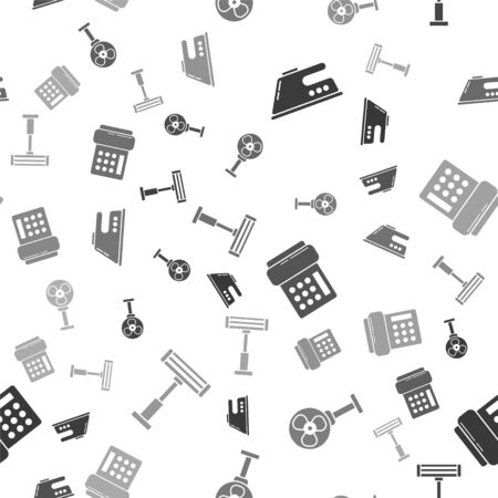 Set Electric iron , Electric fan , Telephone  and Electric heater  on seamless pattern. Vector