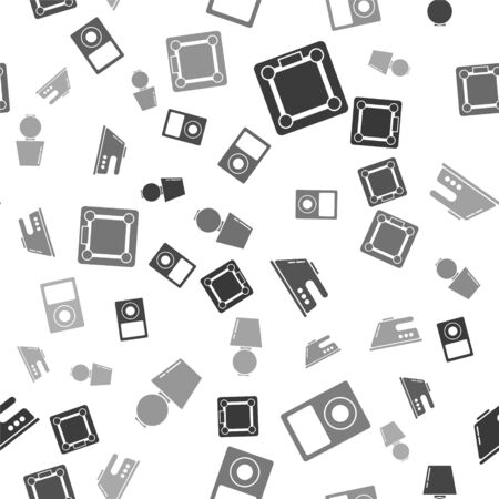 Set Bathroom scales , Music player , Electric iron and Table lamp on seamless pattern. Vector