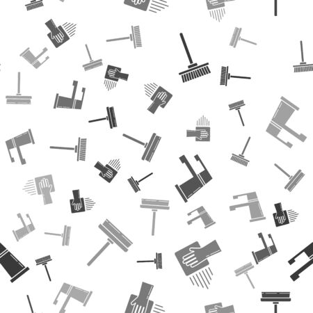 Set Mop , Cleaning service , Water tap  and Squeegee, scraper, wiper on seamless pattern. Vector