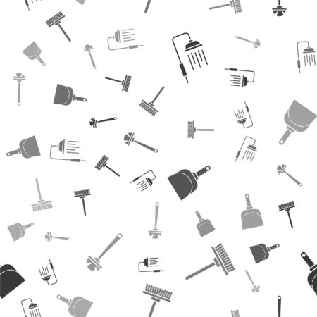 Set Shower head with water drops flowing , Mop , Dustpan  and Toilet brush  on seamless pattern. Vector Ilustrace
