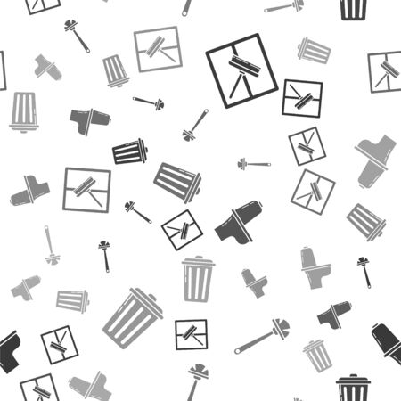 Set Squeegee, scraper, wiper, Toilet brush , Toilet bowl  and Trash can  on seamless pattern. Vector