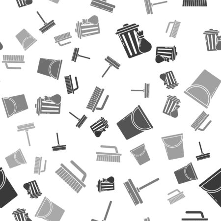 Set Trash can and garbage bag , Squeegee, scraper, wiper, Bucket  and Brush for cleaning  on seamless pattern. Vector Ilustrace