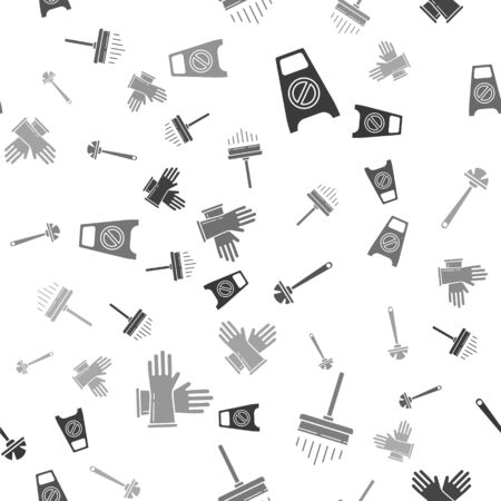 Set Wet floor and cleaning in progress , Squeegee, scraper, wiper, Toilet brush  and Rubber gloves  on seamless pattern. Vector