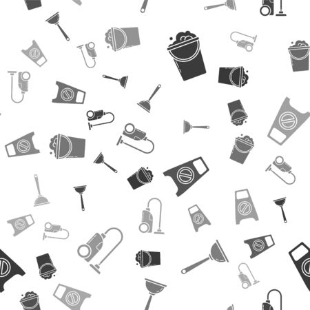 Set Bucket with foam and bubbles , Toilet plunger, Wet floor and cleaning in progress  and Vacuum cleaner  on seamless pattern. Vector