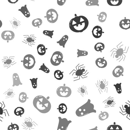 Set Pumpkin , Ghost , Spider  and Pumpkin  on seamless pattern. Vector Иллюстрация