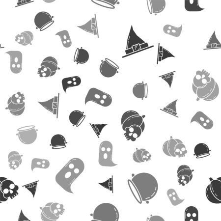Set Witch hat , Halloween witch cauldron , Pumpkin and skull  and Ghost  on seamless pattern. Vector