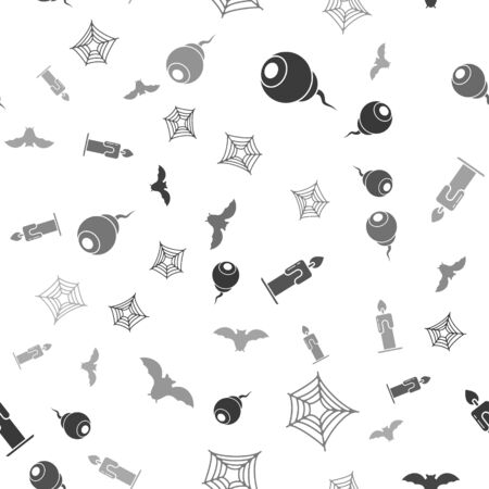 Set Eye , Spider web , Burning candle  and Flying bat  on seamless pattern. Vector