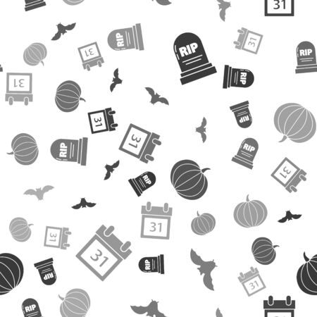 Set Tombstone with RIP, Flying bat , Pumpkin  and Calendar with Halloween date 31 october  on seamless pattern. Vector