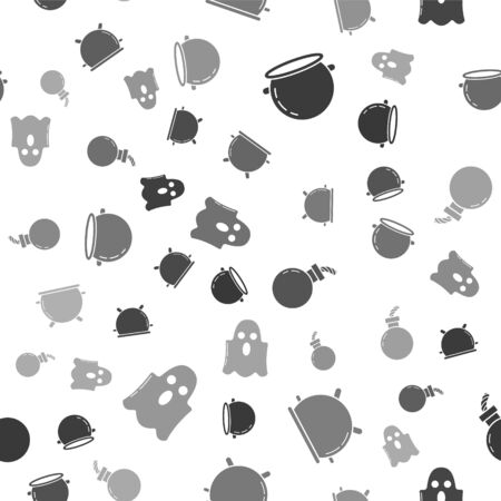 Set Halloween witch cauldron , Halloween witch cauldron , Bomb ready to explode  and Ghost  on seamless pattern. Vector Иллюстрация