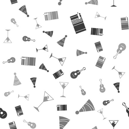 Set Open cigarettes pack box , Party hat , Guitar  and Martini glass  on seamless pattern. Vector Ilustrace