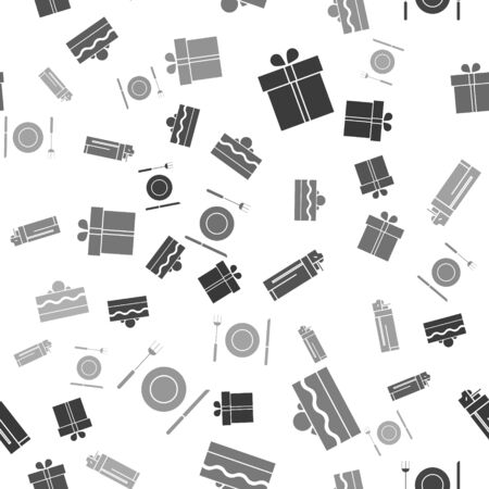Set Gift box , Cake , Lighter and Plate, fork and knife on seamless pattern. Vector
