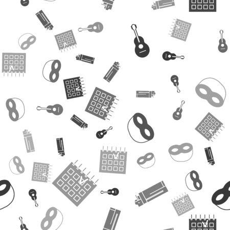 Set Guitar , Lighter , Festive mask and Detailed calendar on seamless pattern. Vector Illustration
