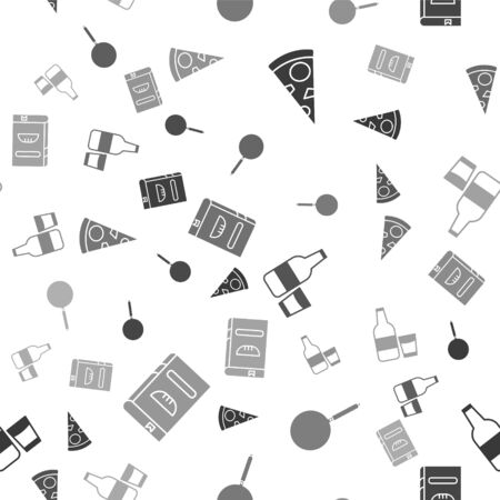 Set Slice of pizza , Frying pan , Glass bottle with milk and glass and Cookbook on seamless pattern. Vector