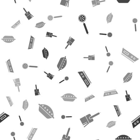 Set Strainer spoon , Kitchen brush , Electronic scales  and Homemade pie  on seamless pattern. Vector