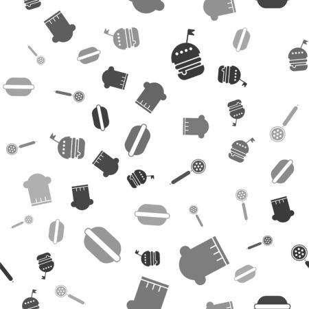 Set Burger , Chef hat , Strainer spoon  and Macaron cookie  on seamless pattern. Vector