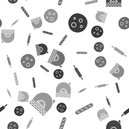 Set Cookie or biscuit with chocolate , French baguette bread , Rolling pin  and Brick stove  on seamless pattern. Vector