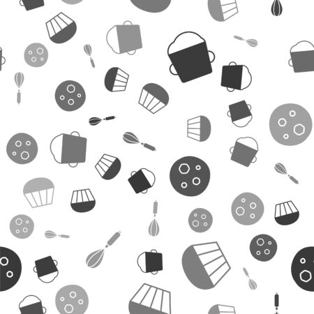 Set Bakery bowl dough , Muffin , Cookie or biscuit with chocolate  and Kitchen whisk  on seamless pattern. Vector
