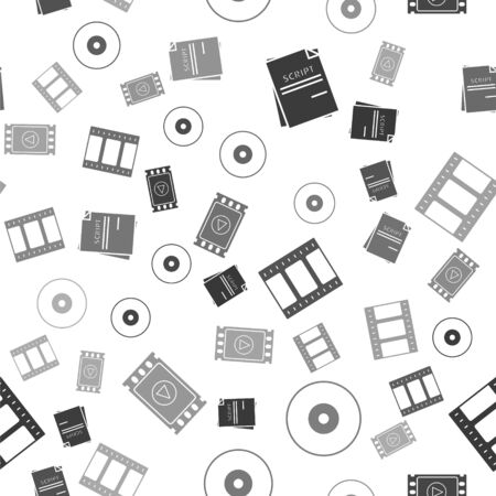 Set Scenario , CD or DVD disk , Play Video and Play Video on seamless pattern. Vector