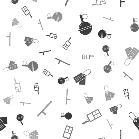 Set Hand grenade , Walkie talkie , Military dog tag  and Police rubber baton  on seamless pattern. Vector Vettoriali