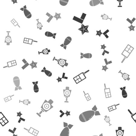 Set Military reward medal , Aviation bomb , Walkie talkie and Human target sport for shooting on seamless pattern. Vector