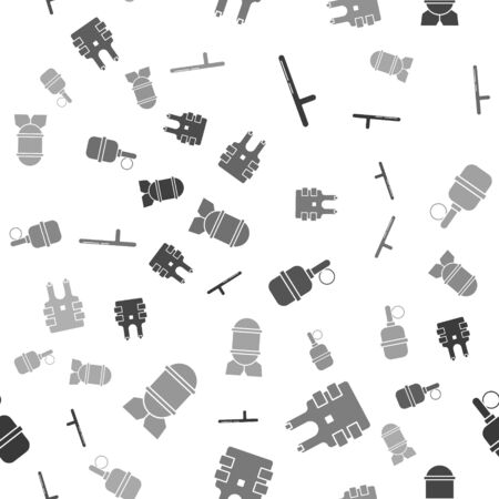 Set Police rubber baton , Bulletproof vest for protection from bullets , Hand grenade  and Aviation bomb  on seamless pattern. Vector Illustration