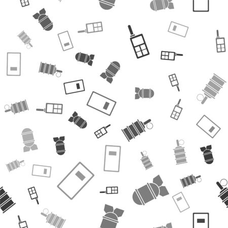 Set Walkie talkie , Aviation bomb , Hand grenade  and Police assault shield  on seamless pattern. Vector
