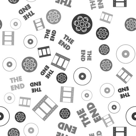 Set Film reel , The End handwritten inscription , CD or DVD disk and Play Video on seamless pattern. Vector Ilustração