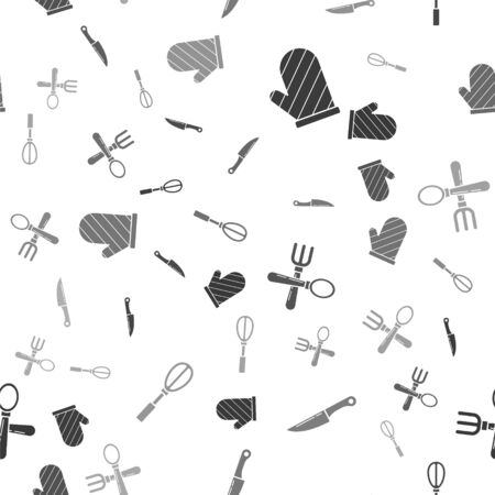 Set Oven glove , Knife , Crossed fork and spoon  and Kitchen whisk  on seamless pattern. Vector