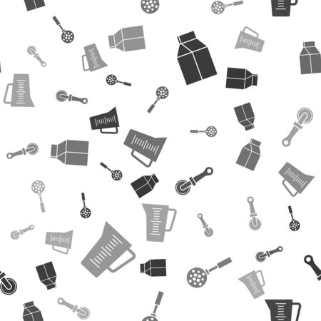 Set Paper package for milk , Spatula , Pizza knife  and Measuring cup on seamless pattern. Vector Vettoriali