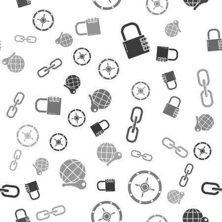Set Safe combination lock , Safe , Chain link and Globe key on seamless pattern. Vector