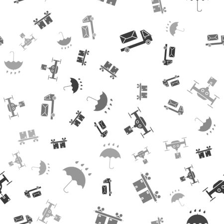 Set Post truck , Railway carriage , Delivery drone with the package and Umbrella and rain drops on seamless pattern. Vector