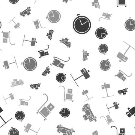Set Stopwatch , Delivery truck with cardboard boxes, Open mail box and Hand truck and boxes on seamless pattern. Vector Ilustração