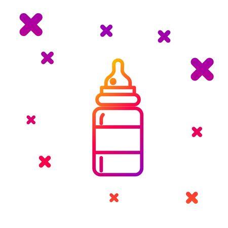 Color line Baby bottle icon isolated on white background. Feeding bottle icon. Milk bottle sign. Gradient random dynamic shapes. Vector Illustration