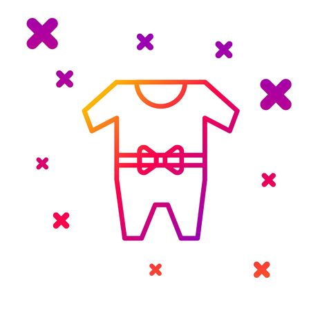 Color line Baby clothes icon isolated on white background. Baby clothing for baby girl and boy. Baby bodysuit. Gradient random dynamic shapes. Vector Illustration 일러스트