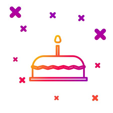Color line Cake with burning candles icon isolated on white background. Happy Birthday. Gradient random dynamic shapes. Vector Illustration