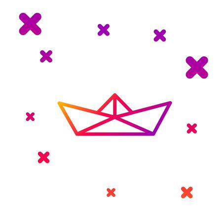 Color line Folded paper boat icon isolated on white background. Origami paper ship. Gradient random dynamic shapes. Vector Illustration