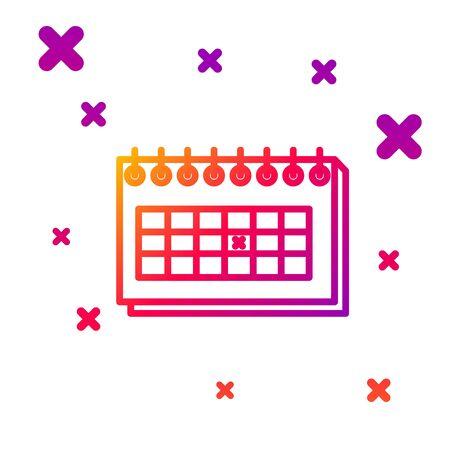 Color line Calendar icon isolated on white background. Due date. Gradient random dynamic shapes. Vector Illustration Illusztráció